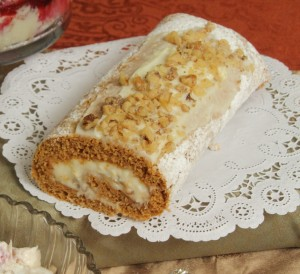 Pumpkin Cake Roll with Candied Walnuts